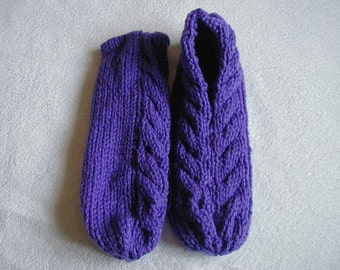 Hand Knitted Slippers Colour Violet