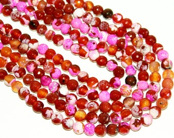 1 Strand 15.5 inch 8mm Hot Pink Fushia Fire Agate Bead Faceted Gemstones Round 47 Loose Beads Jewelry Supplies - Ships Fast From California