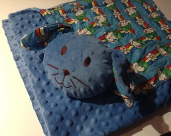 Baby/toddler blanket-Blanket with Friend-Blue Bunny minky blanket, Security Blanket ,Bunny lovie, buddy blanket, 3-in-1, blanket-pillow -toy