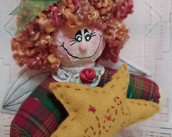 Red Haired Angel Tree Topper or Table Decor