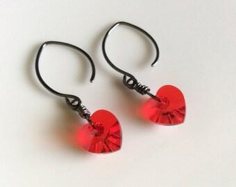 Red Heart Earrings / Red Crystal Earrings / Sterling Silver Earrings / Oxidized Earrings / Dangle Earrings / Drops