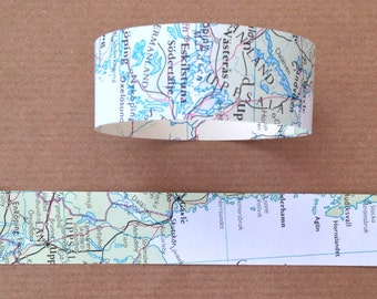 Paper Chain Garland Decoration - Wanderlust/Travel/Map/Bon Voyage/Adventure/Recycled/Rustic /Wedding - 8ft