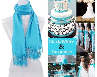 Turquoise pashmina scarf shawl / personalized initial shawl / bridesmaid shawl / wedding favor / spring summer wedding /