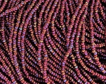 25% OFF SALE 15/0 Brown AB Opaque Czech Seed Beads 1.5 mm Rocailles – Options: 6 Strands / 1 Hank.
