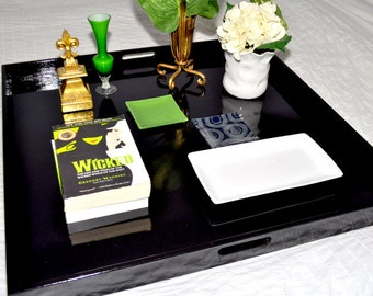 """30"""", 32"""" or 36"""" Square Large Ottoman Tray - Black"""