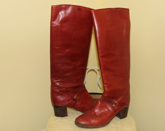 SALE! 1970s 80s Size 8B Brown Burnt Orange Leather Western Cowgirl Rider Arnold Churgin Boots