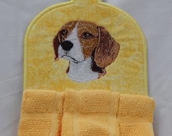 Beagle Emroidered Kitchen Towel Topper