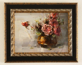 Roses Oil Painting in Handmade Framed Ready to hang Original Signed Painting 9  x 12 in