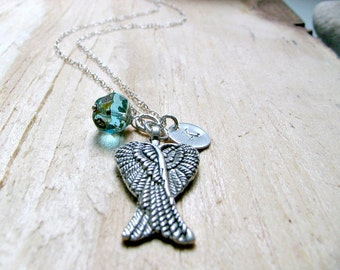 Silver Angel Wings Necklace Angel Wings jewelry hand stamped initial Wing Necklace Aquamarine march birthstone Beach Wedding Boho Chic gift