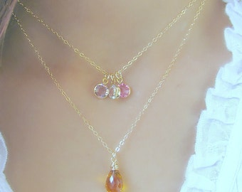 Yellow Topaz Necklace,Swarovski Birthstone Necklace,Layered Necklace,All 14k Gold Filled,Mother's Necklace,November Birthstone,Personalized