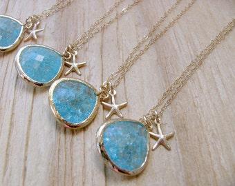 Aquamarine starfish Necklaces Starfish jewelry aquamarine jewelry 14k Gold Filled Necklace Beach Wedding bridesmaid necklaces Aquamarine