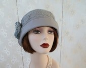Grey cloche hat for Great Gatsby party, flapper hat 1920s party, Downton Abbey style