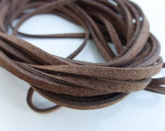 5 metres x 3mm Dark Brown Microfibre Faux Suede Cord, Craft Supplies, Cord, UK Seller (FFC5069)