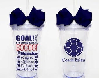 Soccer Subway Art - Acrylic Tumbler Personalized Cup