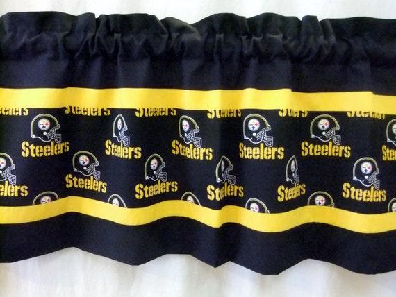 Pittsburgh Steelers NFL Football Black Print Custom Valance - Choose ...
