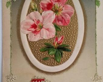Collectible John Winsch New Year Postcard 1913 Pink Flowers