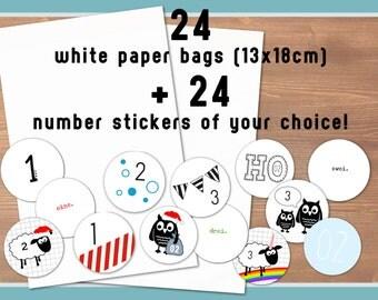 24 weiße Papiertüten + 24 Zahlen-Aufkleber nach Wahl (Tüten 13x18cm, Aufkleber Durchmesser 40mm, auf weiße Etiketten gedruckt)
