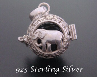 Sterling Silver Harmony Ball Traditional Balinese with Elephant & Black Chime Ball  | Bola Necklace,Pregnancy Gift, Angel Caller 536