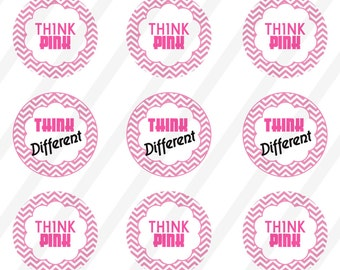 INSTANT DOWNLOAD Think Pink  4X6 1 in Digital Collage Sheet to bottlecaps,button