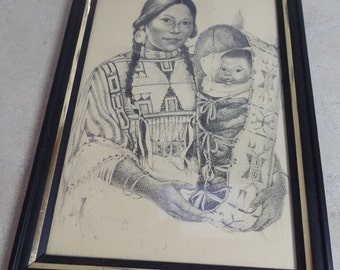 Small vintage Native American print in frame.  Young maiden with papoose in black and white