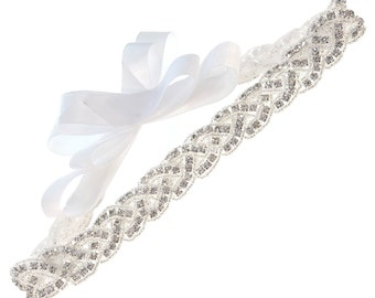 Braid Crystal Beaded with Satin Ribbon Tie Bridal Wedding Sash Belt, Off-White