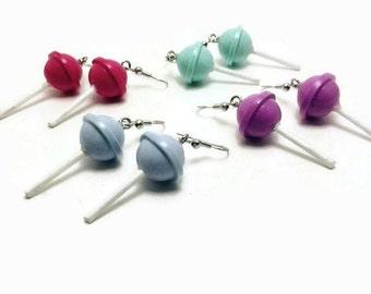 Lollipop Earrings, Dangle Earrings, Miniature Sweets, Fun Jewelry, Polymer Clay Jewelry, Fun Earrings, Gift for her, Gift for women