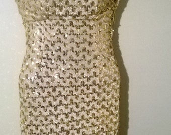 Razzle dazzle gold sequin dress by Mike Benet Formals,1970