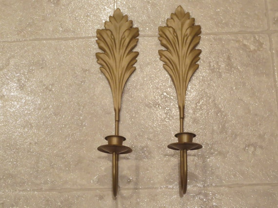 Set of 2 1970 s Vintage Gold Metal Wall Candle Sconces