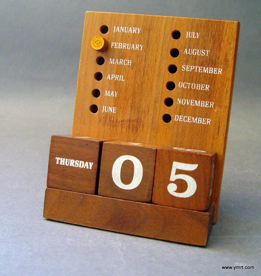 Calendar Wooden Blocks : Vintage mid century modern walnut wood block perpetual desk