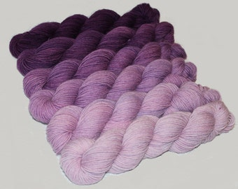 Gradient Yarn SWEATER SET- Hand dyed Superwash  sock yarn  in Plumeria