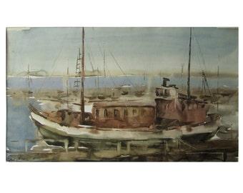 Old ship - Baltic seascape - original watercolor