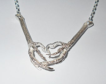 Sterling Silver Double Bird Claw Necklace with Sterling Chain