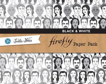 Firefly Black & White Paper Pack : 10 Printable Digital Scrapbook Papers
