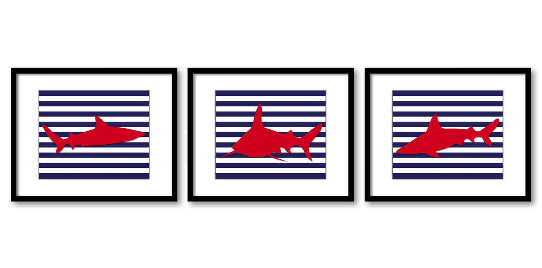Shark Animals Art Prints Stripes Set of 3 Navy Blue Red Sharks Boys Art Nursery Art Nursery Print Ch