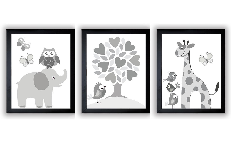 Grey White Nursery Art Print Set of 3 Elephant Owl Bird Tree Giraffe Baby Nursery Print Child Kid Ro