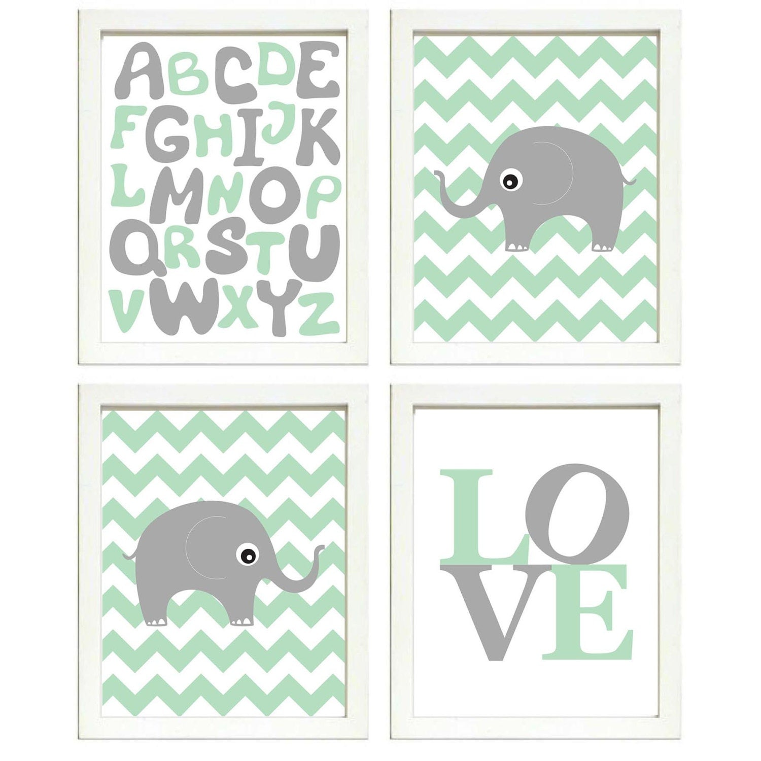 Elephant Nursery Art Set of 4 Prints Grey Mint Green Chevron LOVE Alphabet ABC Child Kids Room Wall