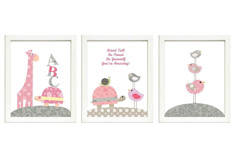 Pink Grey Girls Nursery Art Print Set of 3 Bird Turtle Giraffe Snail ABC Baby Nursery Print Child Ki