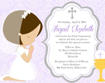 First Communion Invitation, Any Hair Color, Any Length, Girl, Purple - Printable or Printed