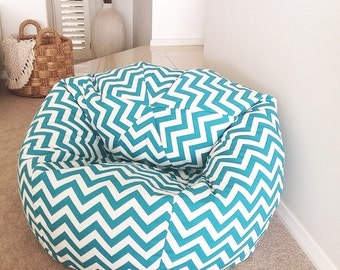 Chevron Bean Bag adults, kids. bean Bag Cover Turquoise Zig Zag Bean Bag.  Birthday Gift Boys, Girls Gift. So many colours to choose from!