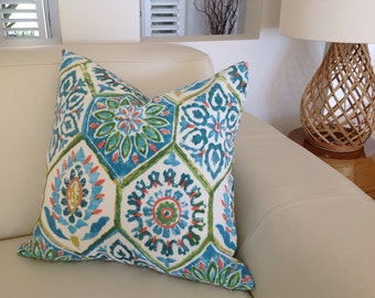 Outdoor Pillows Blue Green Moroccan Outdoor Cushion Cover Summer Breeze Indoor/Outdoor Cushion Pillow Caribbean Blue Bohemian Pillow.