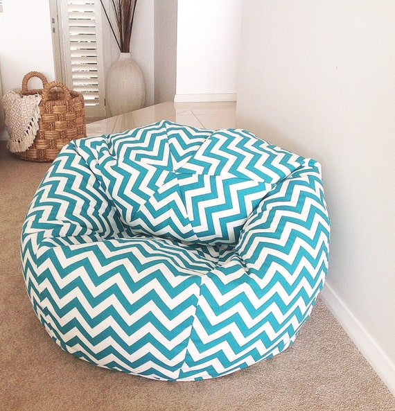 Chevron Bean Bag Cover Adults kids Bean Bag Turquoise Zig