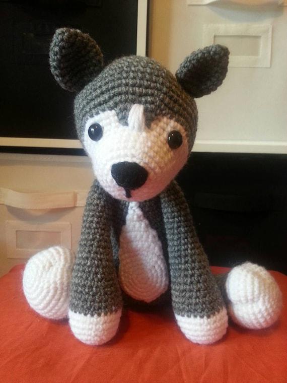 Crochet Amigurumi Wolf : Stuffed amigurumi wolf /husky / sits on his own / by Jazenami