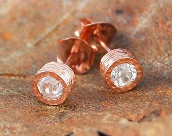 Rose Gold Stud, Stud Earrings, Birthday Gifts, Topaz Earrings, Bridesmaids Earrings, Simple Earrings, Organic Earrings, November Birthstone