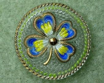 Czech Glass Button 32mm - handpainted clover - blue, green, yellow, gold (B32087)