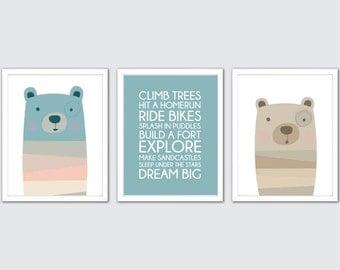Baby Bear Nursery Art, Teddy Bear Nursery Decor, Bear Nursery Wall Art, B is for Bear Nursery, Bear Baby Nursery, Teddy Bears for Nursery