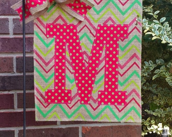 Personalized Christmas Burlap Garden Flag in Bright Whimsical Chevron