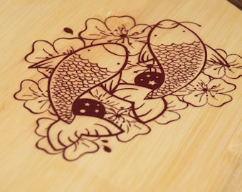Retro Kickail Skateboard Deck: Tres Fish
