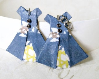 Origami Jewelry - Paper Dress Earrings - Paper Anniversary - Paper Jewelry - Origami Earrings - WC01