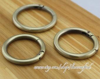 4pcs Brushed Brass round spring gate ring spring ring clasp