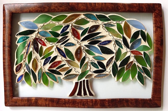 Family Tree Inspirational Stained Glass Mosaic Panel Art with a Message Made in Hawaii Deesigns by Harris©